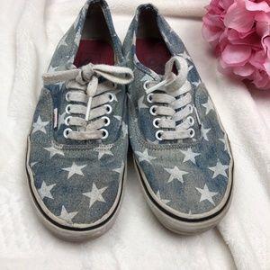 Vans Denim Star Printed Sneakers Size 9